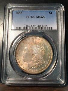 1888 Morgan Dollar PCGS MS65 Beautiful Gold Toning!