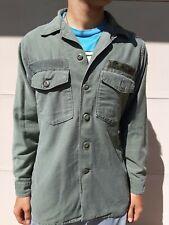 "US Army Vintage Shirt Sateen OG-107 W/Patches 15 1/2×33 ""Van Winkle"""