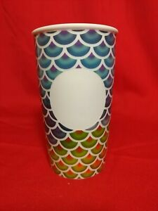 Starbucks Color Rainbow Scales Dot White Ceramic Traveler Tumbler Mug 12oz