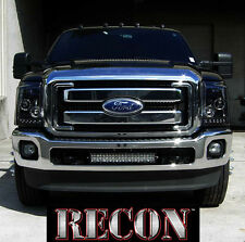 Recon SMOKED Projector Headlights  LED Halos DRL Ford Superduty 11-16 # 264272BK