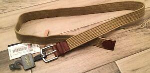 New Men's Beige Polo Ralph Lauren Braided Stretch Cotton Leather Belt Size L