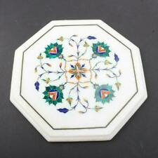 """12""""x12"""" Marble Coffee Table Top Malachite Floral Inlay Art Decorative Furniture"""