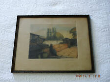 Victor Valery Signed Etching Print Framed Numbered Quai Near Notre Dame Original