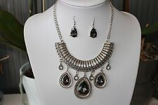 Black tear drop bib necklace and drop earrings set- prom party occasions