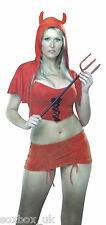 Sexy Red Devil Womens Fancy dress Costume with accessories Halloween 12 Uk 40 Eu
