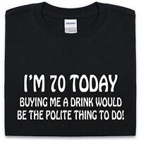 70th BIRTHDAY T Shirt S-XXL Funny Mens Womens Present Gift Joke Top Tee Drink