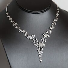 Lepos,925 Sterling Silver Rhodium Plated  Simulated Diamond NecklaceRRP £350