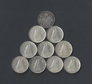 Lot of 10 Canada 80% Silver Dimes, 10 Different Dates from 1919-1947