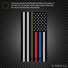 Vertical Thin Blue Line Flag Sticker Military Firefighter Police american flag