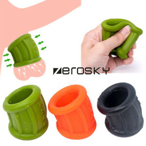 Male Silicone Scrotum Testicle Squeeze Ring Penis Stretcher Enhancer Delay Ball