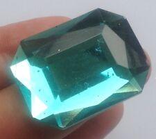 broche bijou vintage rectangle résine couleur vert facette effet pierre 574