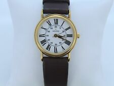 Movado White Roman Numeral Leather Band Watch Gold Plated Wrist Vintage