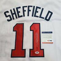 Rare Autographed White Atlanta Braves Gary Sheffield Jersey.  COA PSA