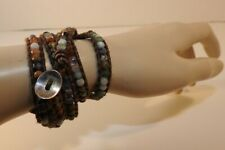 Chan Luu Gemstone 5 Wrap Bracelet Leather Multi colored Stone Silver Button