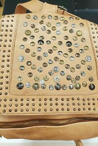 $399 Viola Castellani Brown Italian Leather Studded Convertible Backpack L M3020