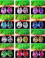 2Pcs Crystal Glass Dried Flower Teardrop Pendant Bead 18*13*10mm AE5118