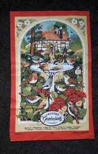 VINTAGE UNUSED TEA TOWEL - COUNTRY GARDEN BIRDS - VISTA - COTTON