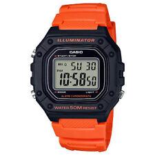 Casio W218H-4B2V, Chronograph Watch, Orange Resin Band, Alarm, Illuminator