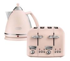 De'Longhi Argento Flora 3kW 1.7L Cordless Kettle & 4 Slice Toaster Set - Pink.