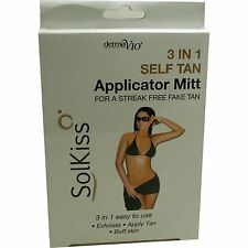 Derma V10 Solkiss 3-in-1 Self Tan Applicator Mitt Streak/Free/Fake/Tan/Buff/NEW