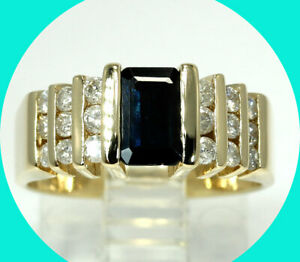 1.25CT diamond sapphire step ring 14K YG emerald cut birthstone 6.5GM sz 6.75