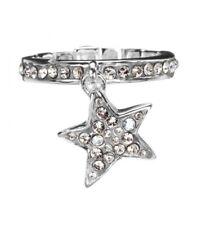 GUESS JEWELS anello donna UBR81019-L acciaio stella pendente brillantini fedina