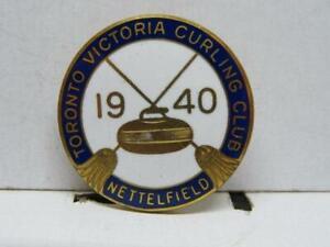 Toronto Victoria Curling Club Nettelfield 1940 Vintage Brass & Enamel Pin Birks