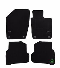 LOGO Fully Tailored black floor car mats fits VW POLO 6R 5 DOOR 2009-up 4pcs set
