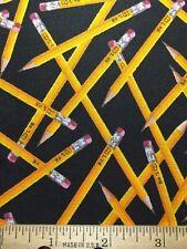 Cotton Fabric School No.2 Pencils Teacher/Student Diy Mask Fq 18� X 22� Quilting