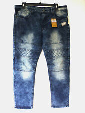Modern Culture Mens 38X32 Solaris Wash Skinny Stretch Moto Blue Jeans New