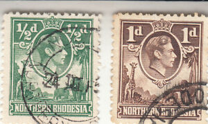 Northern Rhodesia 1938, 1/2d &1d, Definitive, GVI,  Used. NG SG 25-26