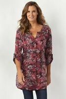 SOFT SURROUNDINGS NEW $89 Briland Batik Tab Sleeve Tunic Shirt Top Size Small