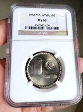 1988 Malaysia 50c NGC MS 66