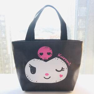 kuromi black PU Tote Bags Handbag Lunch Bag storage bag zip fashion