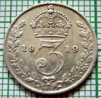 GREAT BRITAIN GEORGE V 1919 THREEPENCE 3 PENCE, 0.925 SILVER