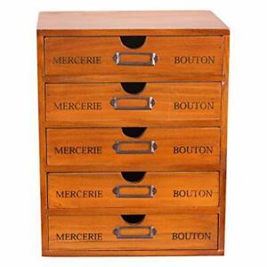 5-Drawer Desk Organizer - Vintage Wooden Storage Box w/ 5 Wide Storage Drawers