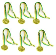 Party Favours - Winner Gold Medals/Medallions - Yellow & Green Ribbon pack of 6