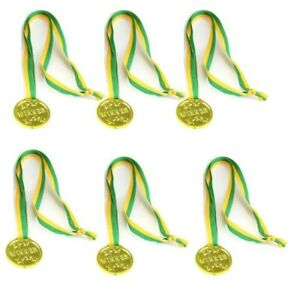 Party Favours - Winner Gold Medals - Plastic - Yellow & Green Ribbon pack of 6