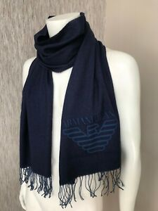 ARMANI JEANS NAVY BLUE EAGLE LOGO SCARF MADE IN ITALY BNWT