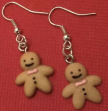 Silver Plate Stocking Filler � 99p Handmade Christmas Gingerbread Man Earrings