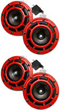 HELLA Red Super Tone Dual Car Horn 12V 118dB Loud - Authentic Brand New Set of 4
