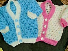 * NEW * HAND KNITTED BABY CARDIGANS  3 MONTHS - WHITE & PINK or  BLUE & WHITE