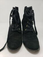 EUC Kate Spade New York Black Suede Wedge Ankle Boots Lace Up Booties Size 9M
