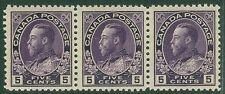 CANADA : 1911-25. Unitrade #112a Thin paper. Choice VF MNH Strip of 3. Cat $450+