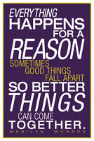 Marilyn Monroe Everything Happens For A Reason Inspirational Art Poster - 12x18