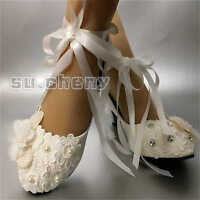 su.cheny shoes lace light ivory white Bridal flats low heel heel pumps size 5-12