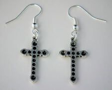 Cross (Dotty) Drop Dangle Hook Earrings & Free Bag Gothic Wicca Halloween