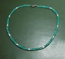 Sehr schöne neonblaue APATIT-RÄDERKETTE m. Perlen •