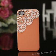 Apple iPhone 4 4S Hard Case Perlen Schutzhülle Hülle Etui Cover Weiss Orange