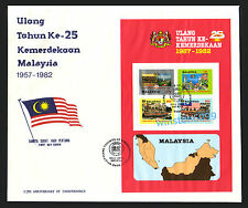 1982 Malaysia 25th Anniversary Independence Miniature Sheet Stamp on Private FDC